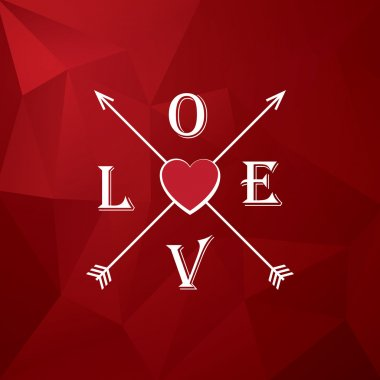 Valentine card template with heart, love and arrows. Romantic low poly red vector background. Eps10 vector illustration clip art vector