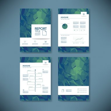 Business report template with low poly background. Project management brochure document layout for company presentations.