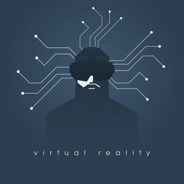 Virtual reality concept illustration with man and headset glasses. Dark background, lines as symbol of internet connection.