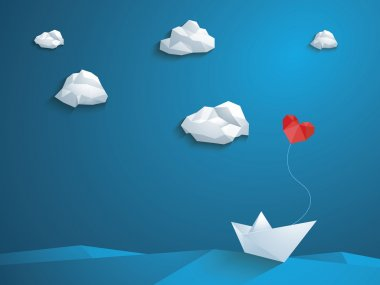 Valentine's day card design template. Low poly paper boat with heart shaped balloon sailing over the waves. Blue sky and polygonal clouds.