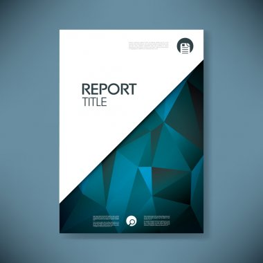 Report cover template with low poly background. Business brochure document layout for company presentations.