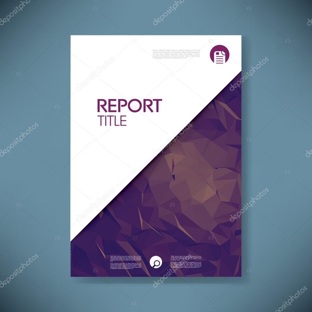 Business Report Cover Template On Green Low Poly Background