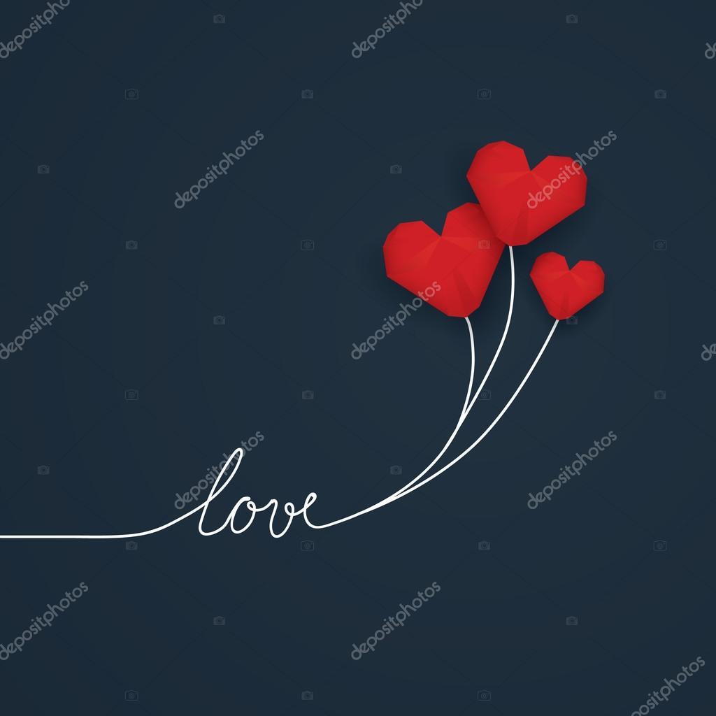 Valentine-Karte Vorlage mit handgeschriebenem Wort Liebe und rot Low ...