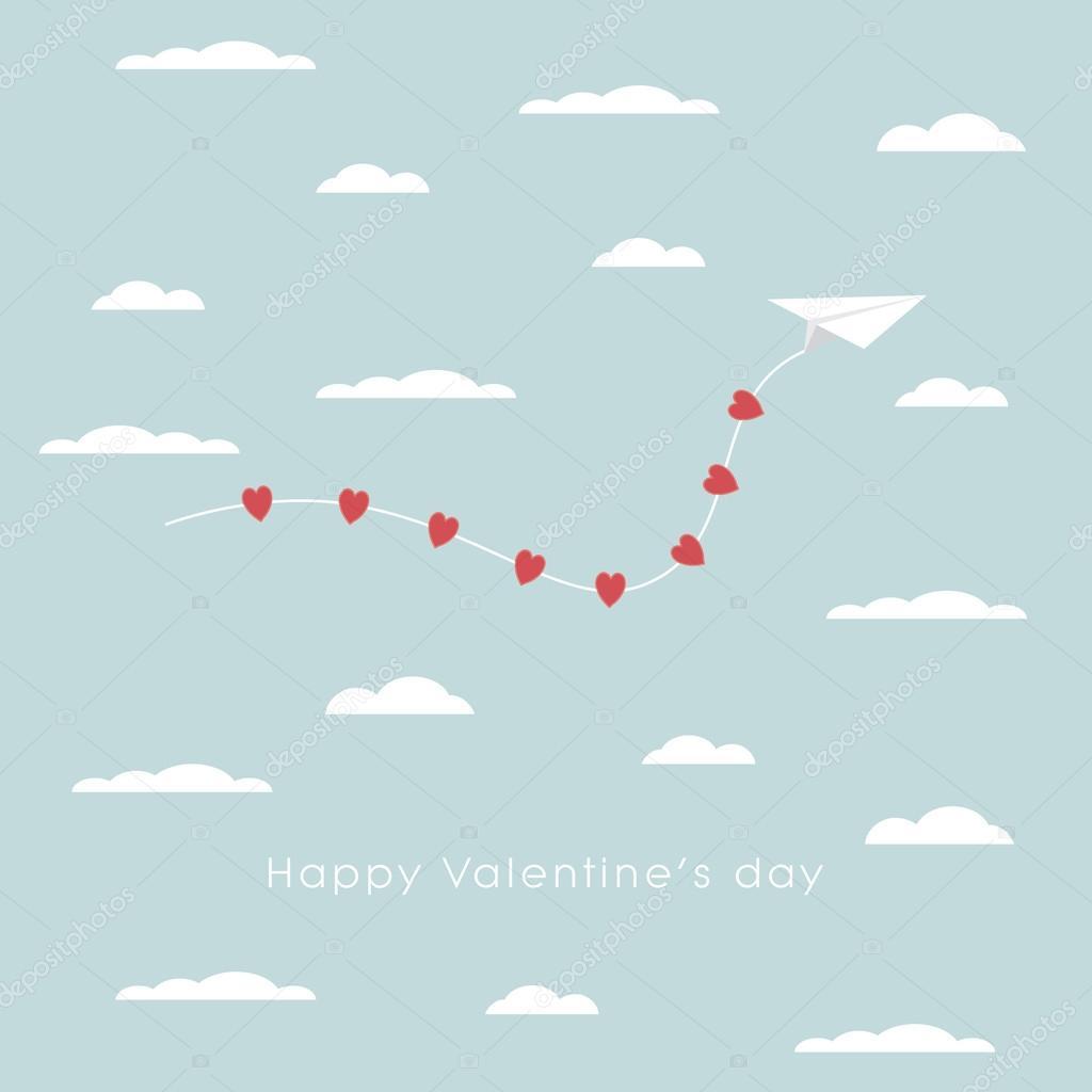Valentinstag-Karte Vorlage mit Papierflugzeug und Herzen Symbol über ...