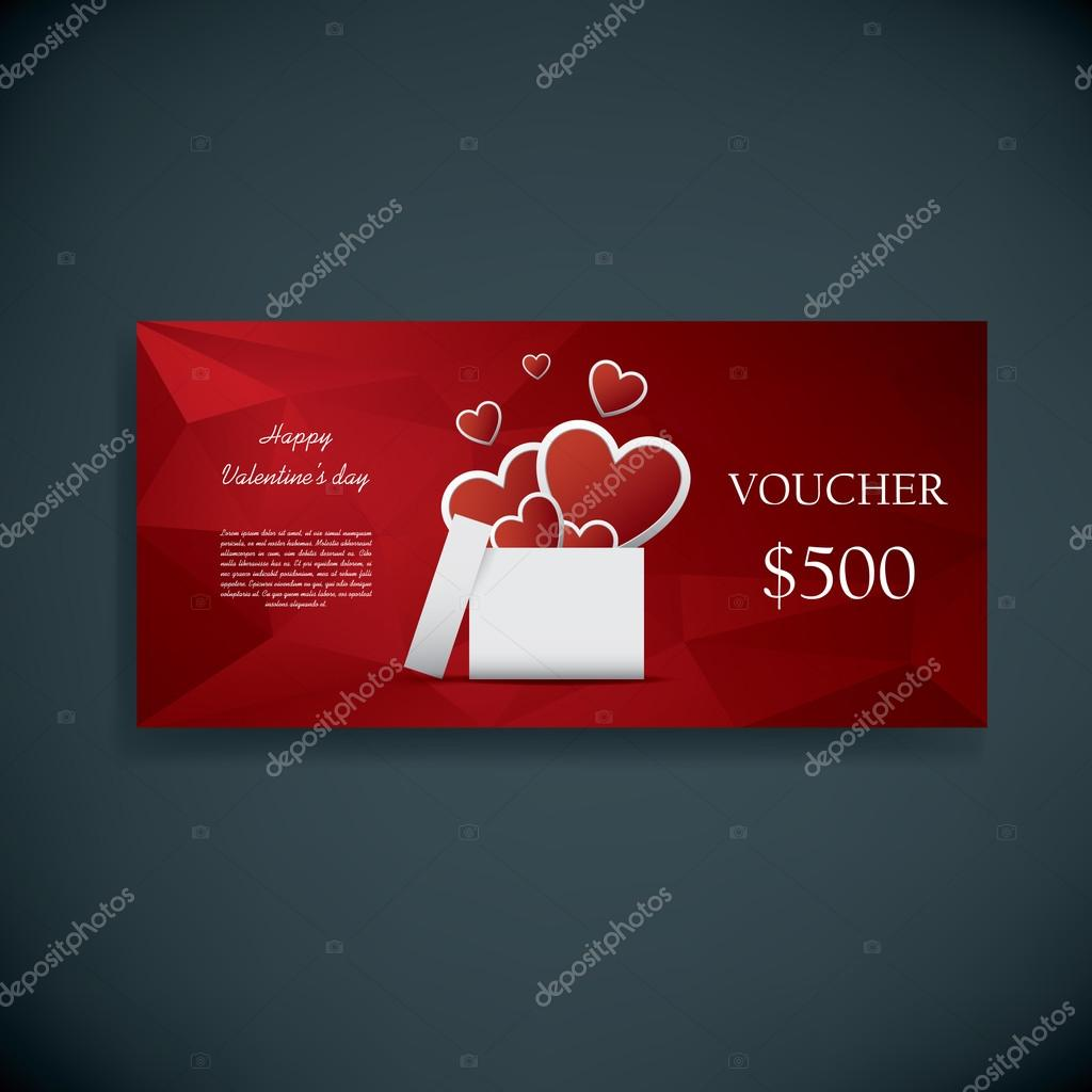 Valentines Day Gift Card Voucher Template Present And Space For Your