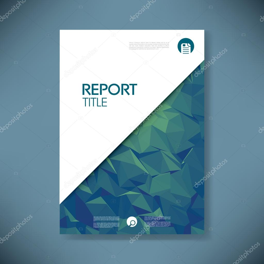 Business Report Cover Template On Green Low Poly Background - Presentation cover page template