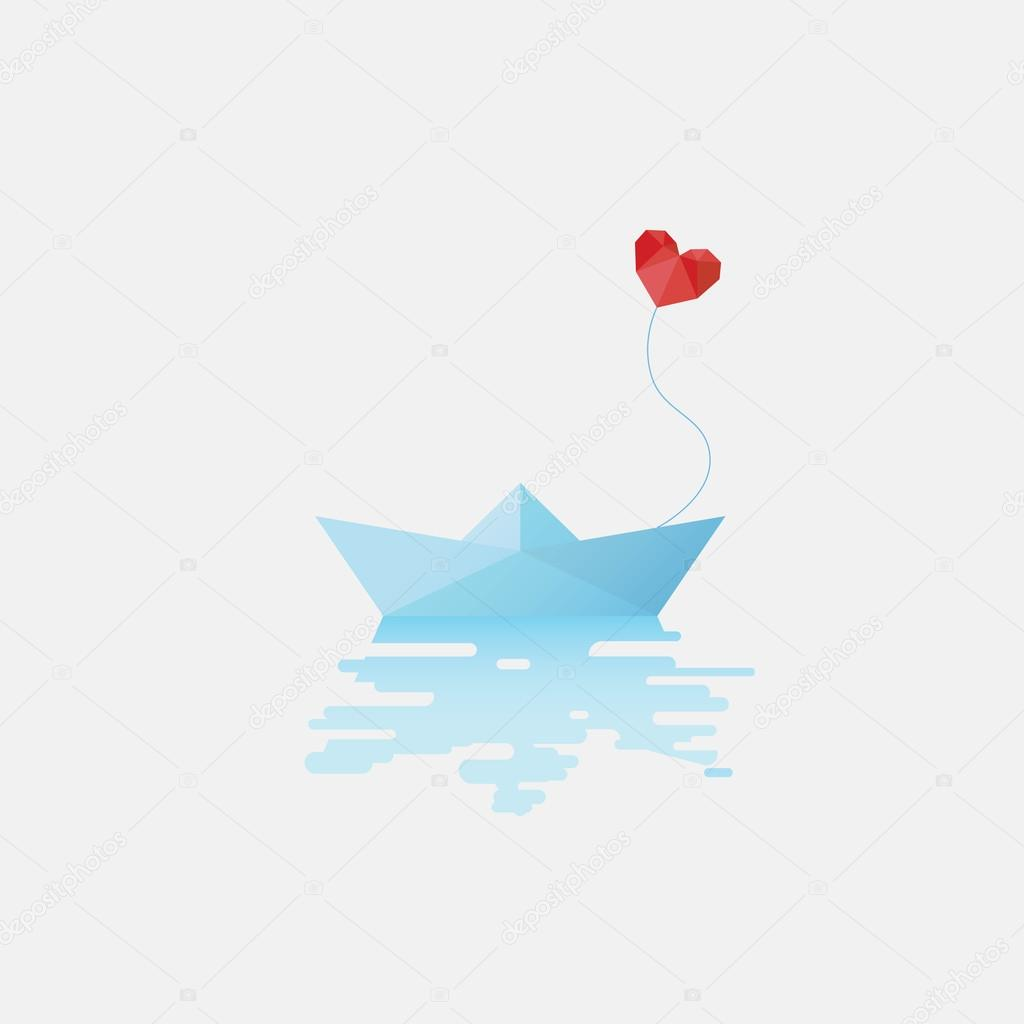 Paper Boat With Red Heart Shaped Balloon As Symbol Of Love Valentines Day Card Template