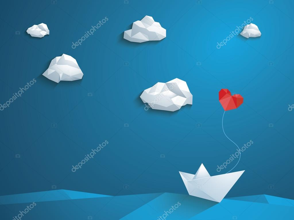Valentines Day Card Design Template Low Poly Paper Boat With Heart Shaped Balloon Sailing Over