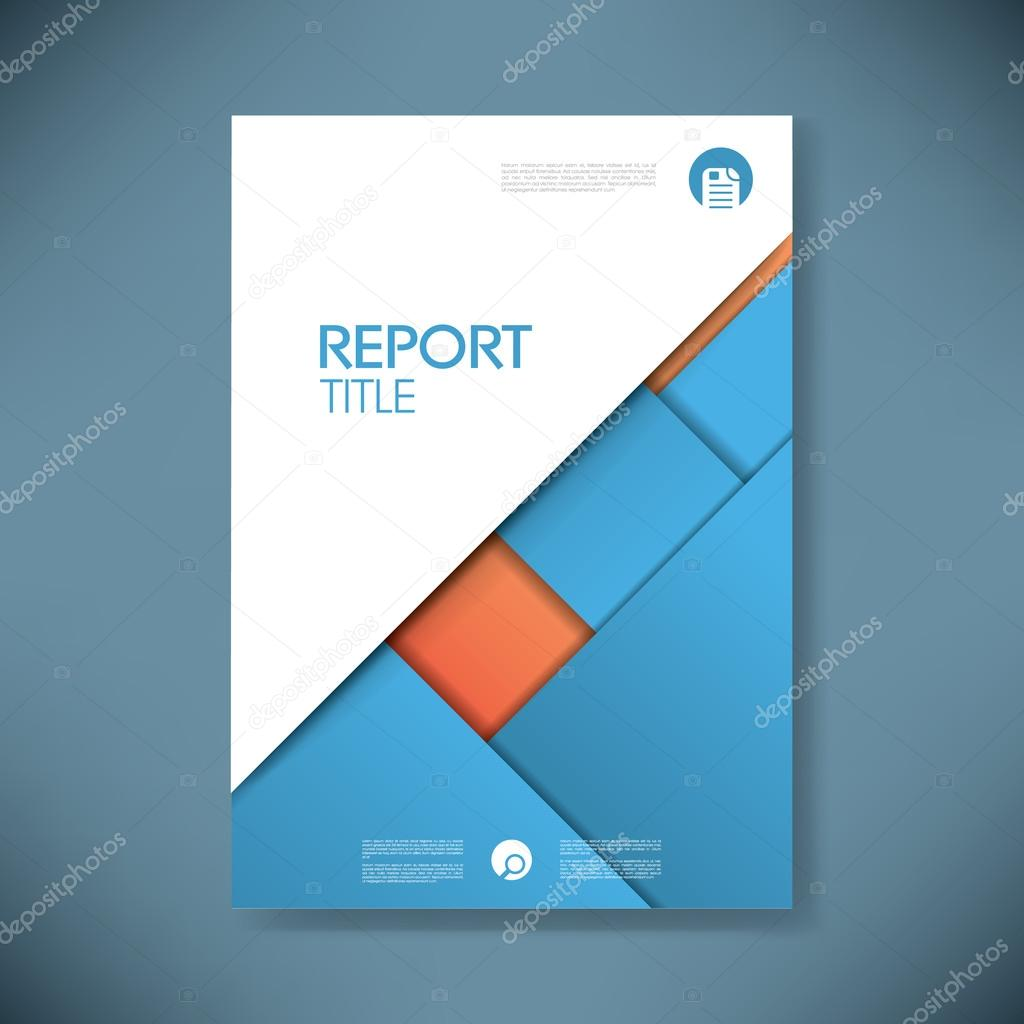 business report cover template on blue material design background, Presentation templates