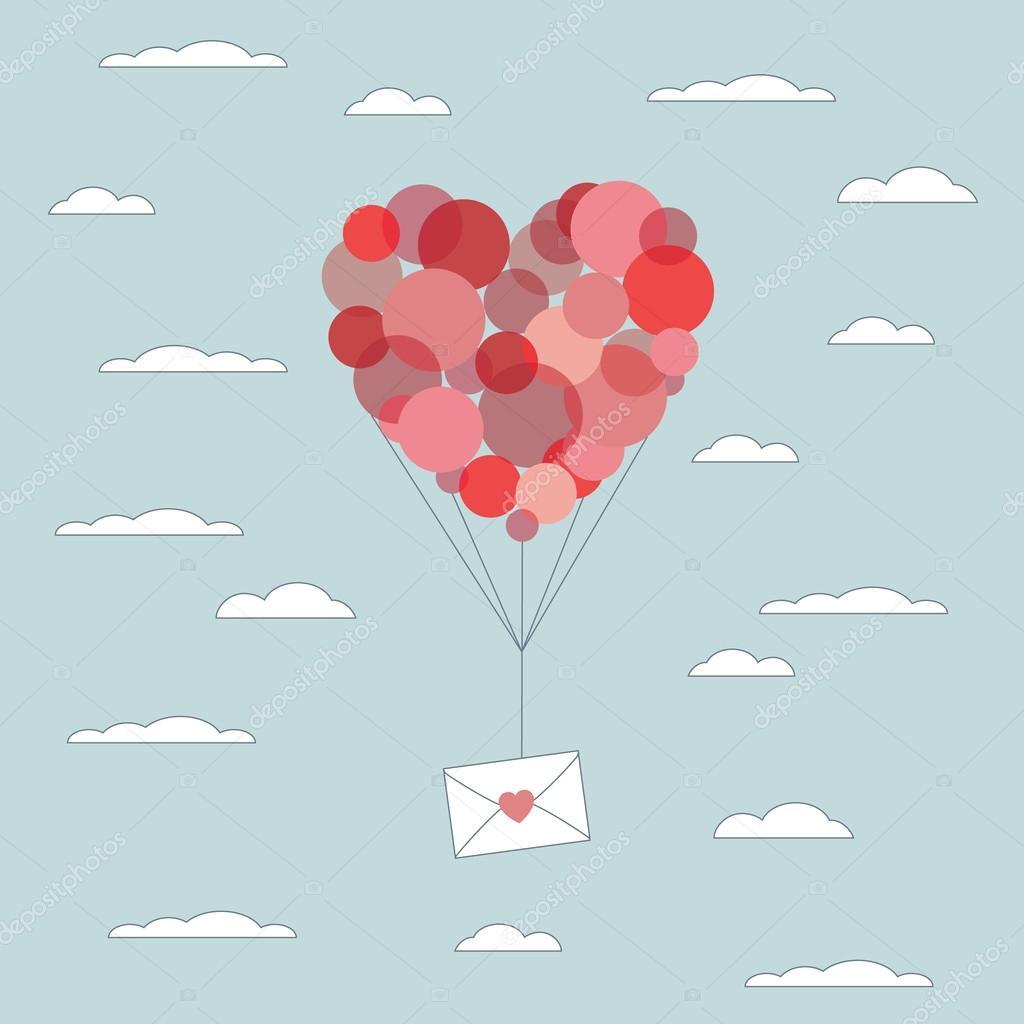 Valentinstag-Karte Vorlage. Liebesbrief in Umschlag mit roten ...
