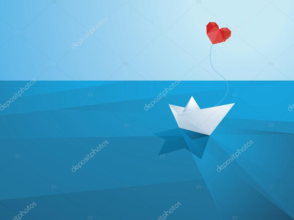 Valentines day card design template. Low poly paper boat with heart shaped balloon sailing over the waves.