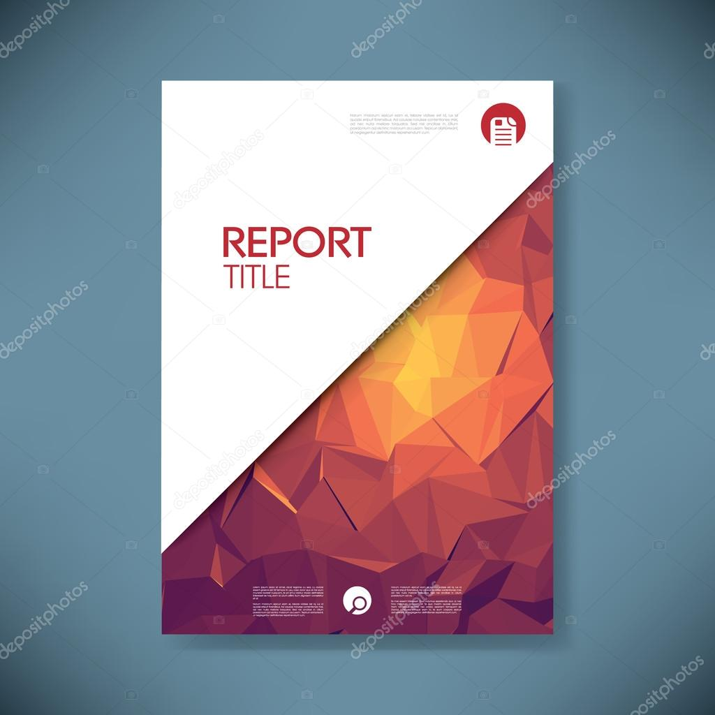 business report cover template on green low poly background  brochure or presentation title page