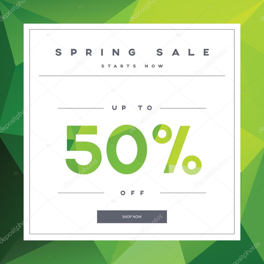 Amazing Spring Sale Banner On Green Low Poly Background With Elegant Typography For Luxury  Sales Offers In