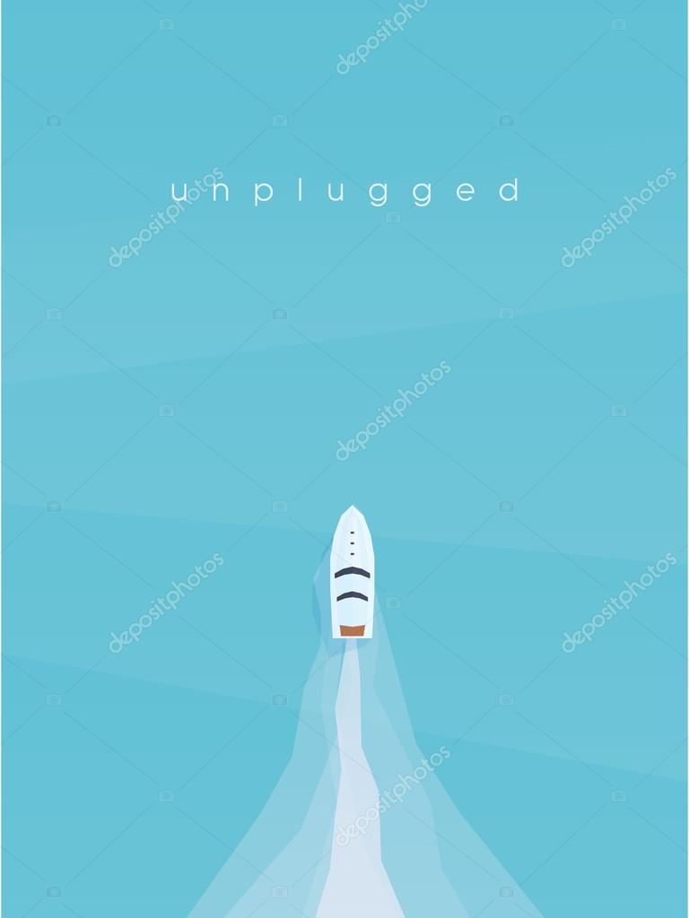 Speed boat in the ocean top aerial view. Summer vacation poster with copy space.