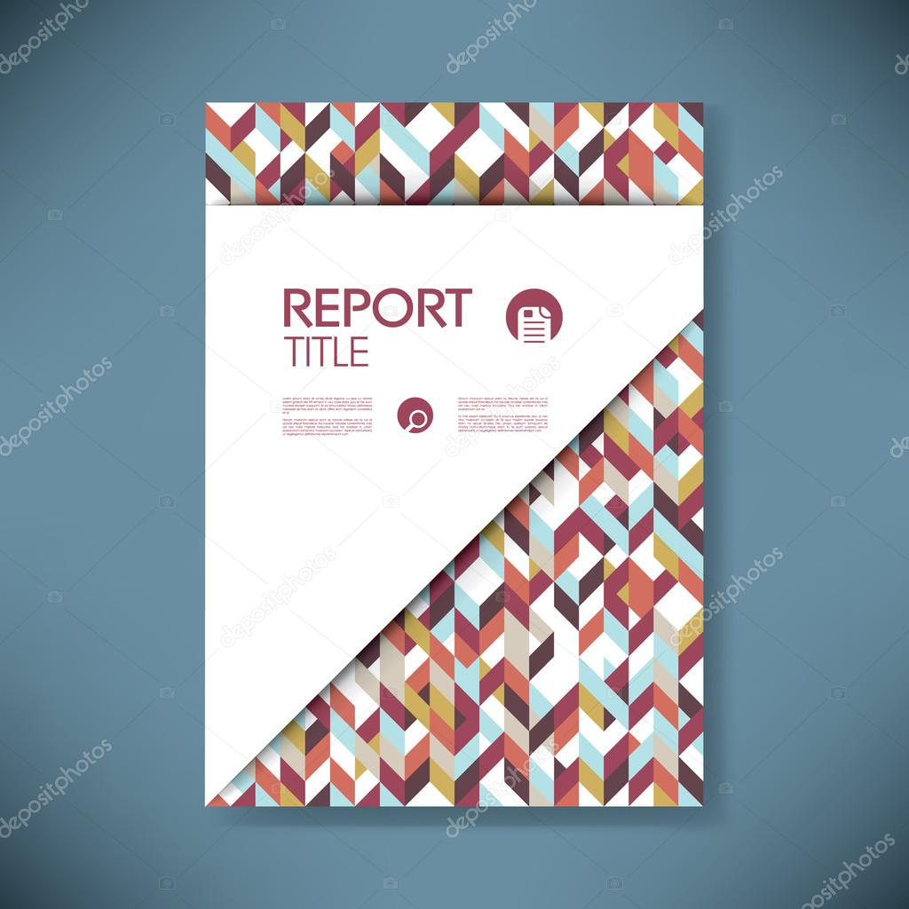 business report cover with low poly bohemian design vector
