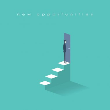 New opportunities concept vector background with businessman standing in front of door on top stairs. Career ladder conceptual illustration.
