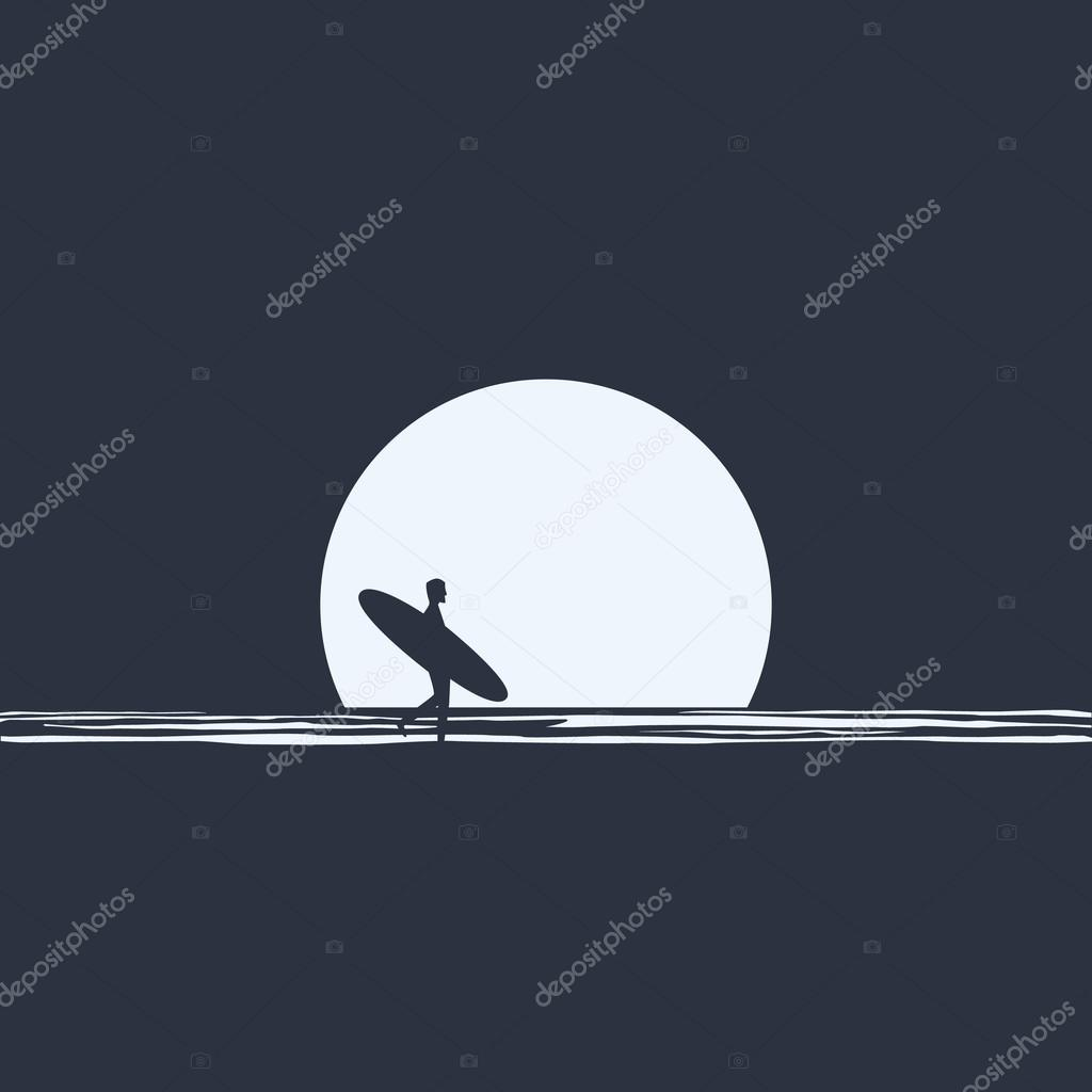 Surfer silhouette walking in front of moon on the beach at night holding his surfboard. Active freedom lifestyle concept.