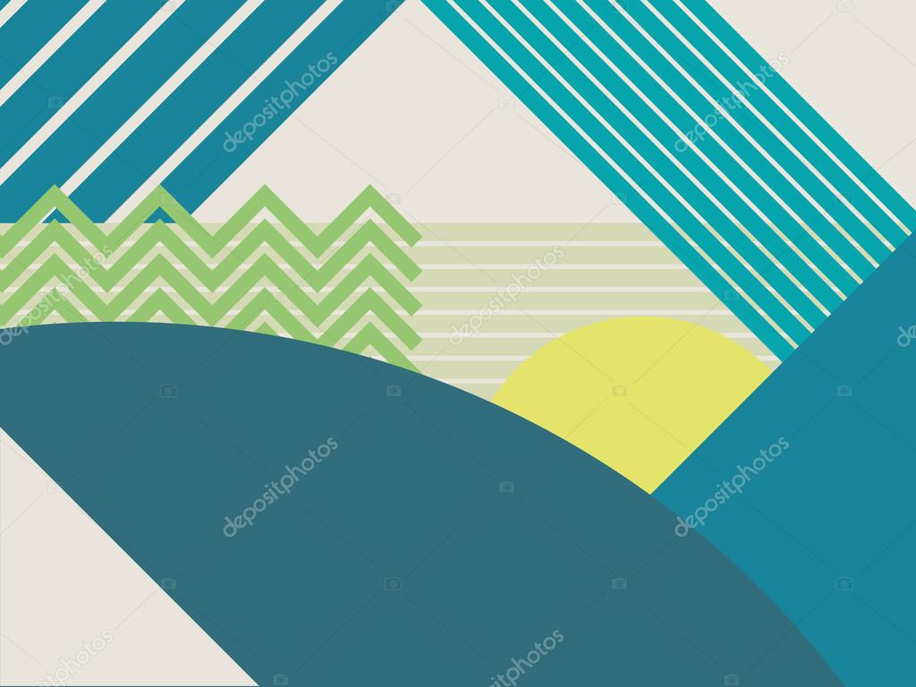 Abstract material design landscape vector background. Mountains and forests polygonal geometric shapes.