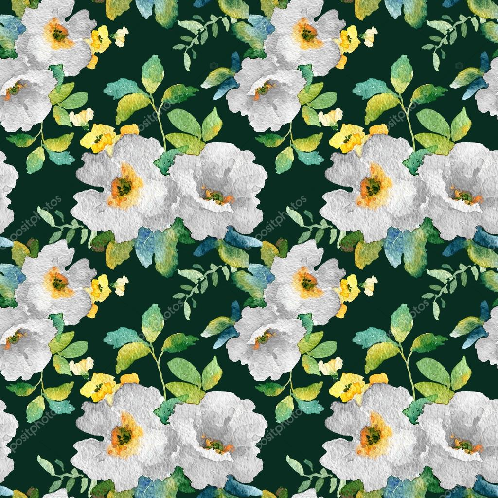 Watercolor seamless pattern with simple colorful flowers.