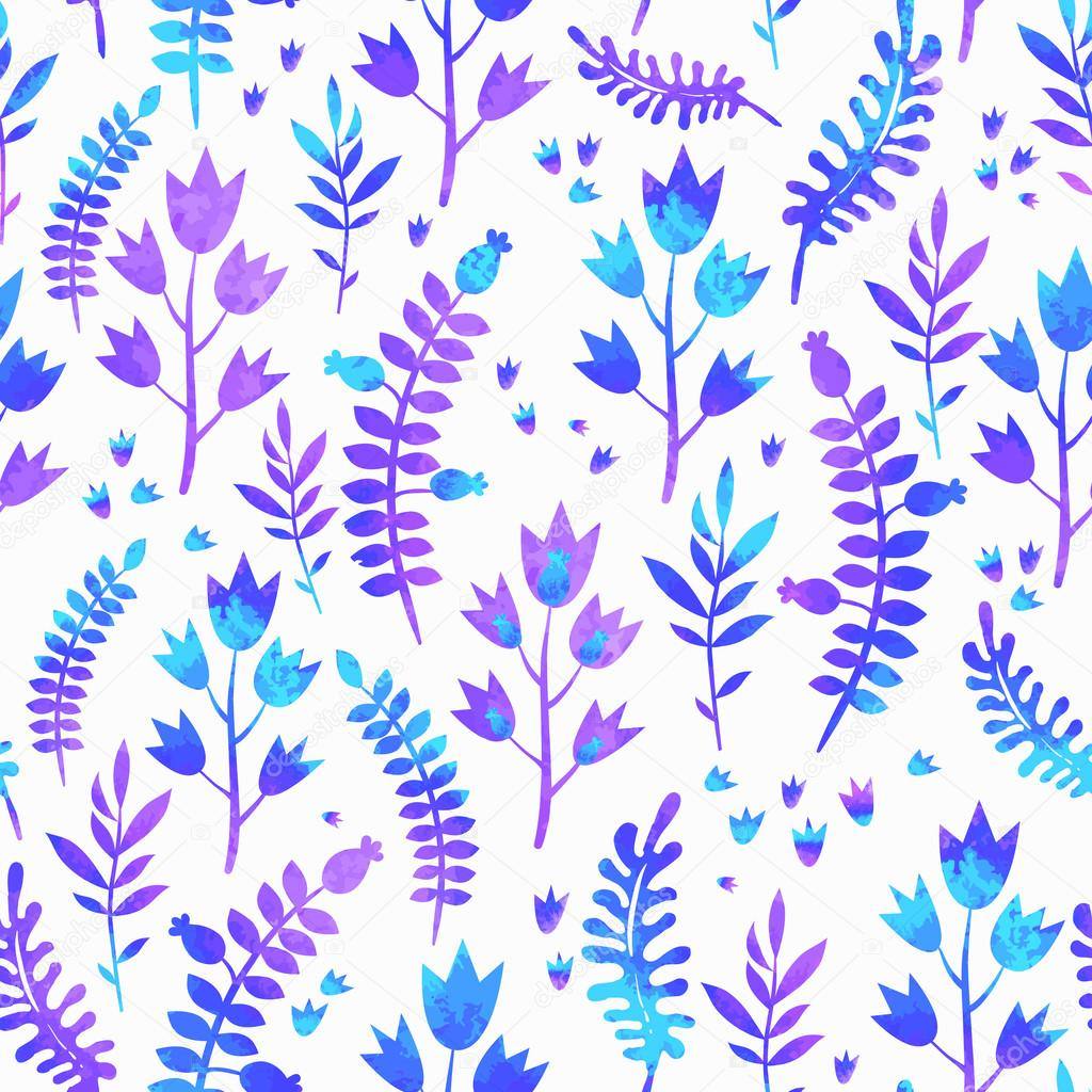 Seamless pattern of floral elements. Pattern with autumn leaves.