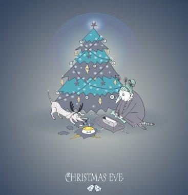 Greeting card. Grandma and the dog. Christmas theme.