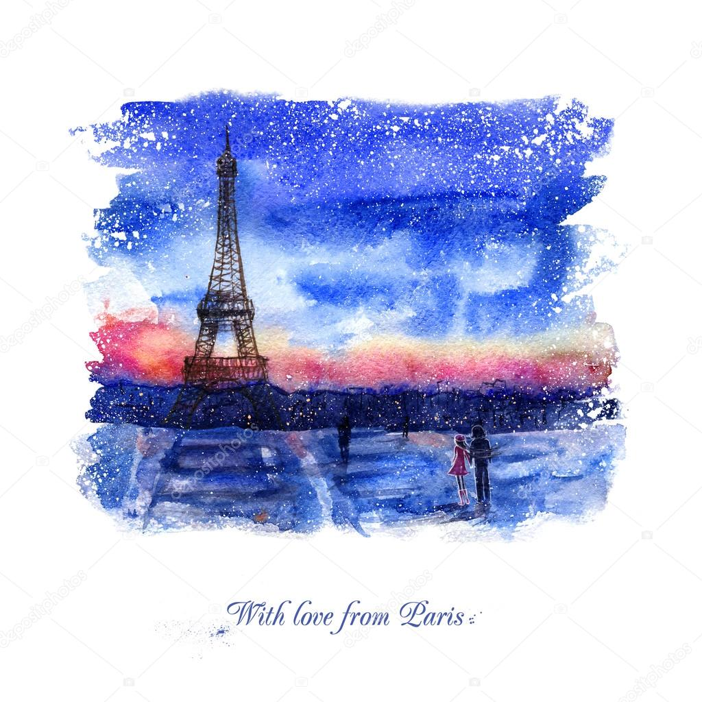 Watercolor landscape. With love from Paris.