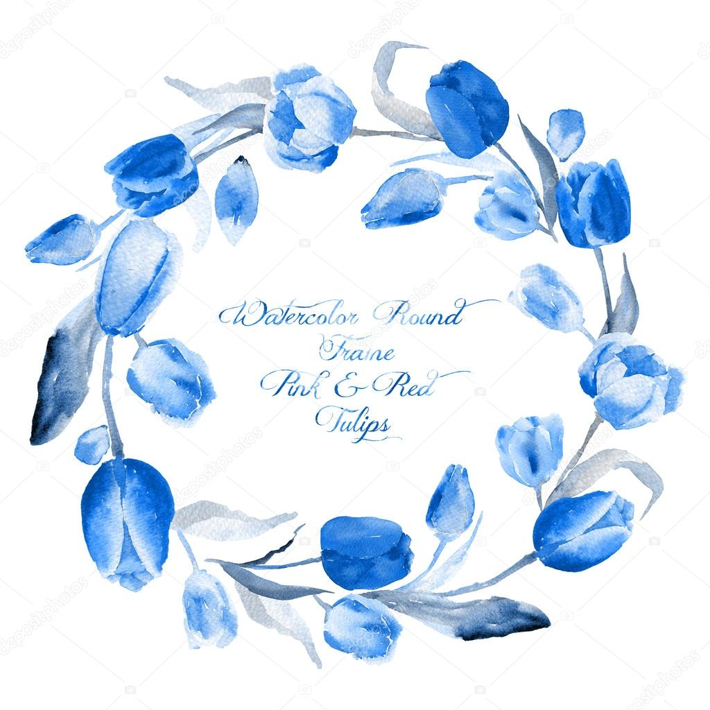 Round frame of  watercolor blue tulips. Monochrome color,