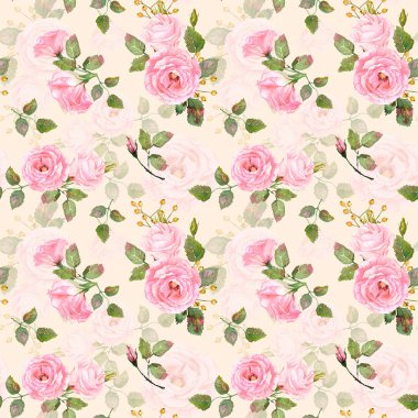Seamless pattern of watercolor pink  roses.