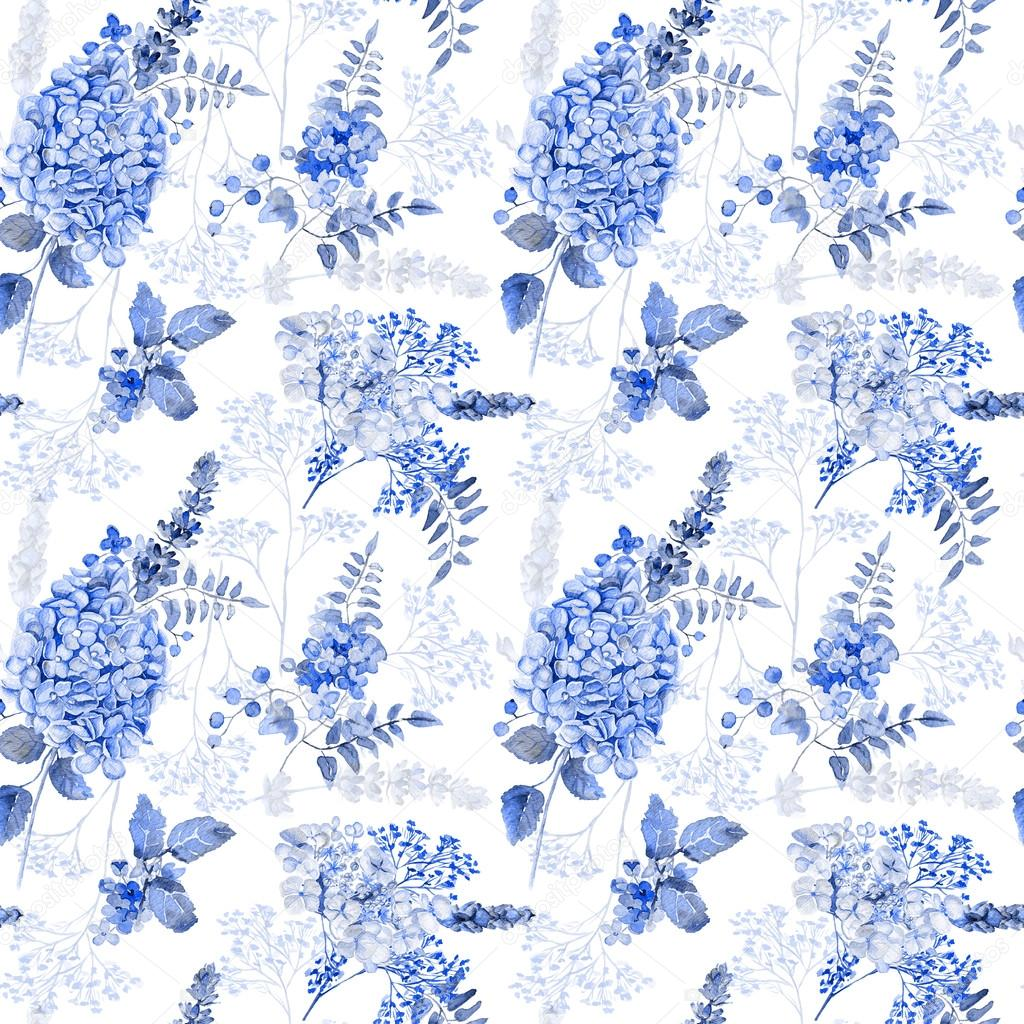 Seamless pattern. Watercolor blue hydrangea, lavender, currant.