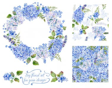 Set of different  blue, cyan  hydrangea, lavender, currant, fram