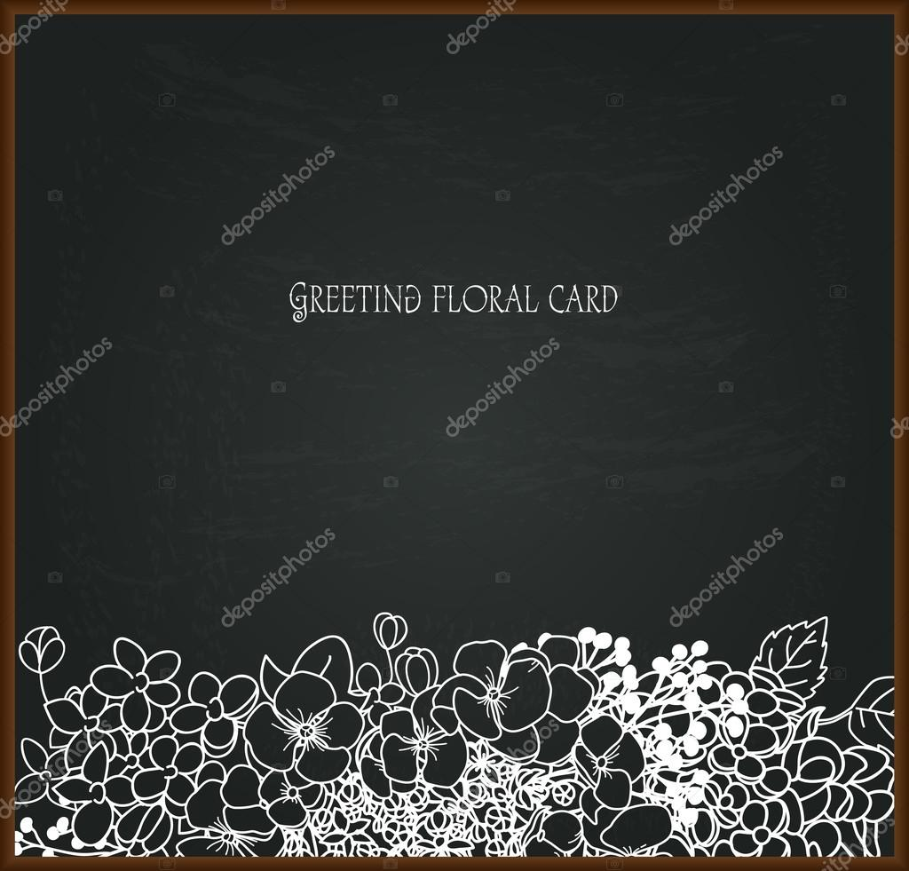 Flores tiza dibujo en pizarra — Vector de stock © inna73 #66719685