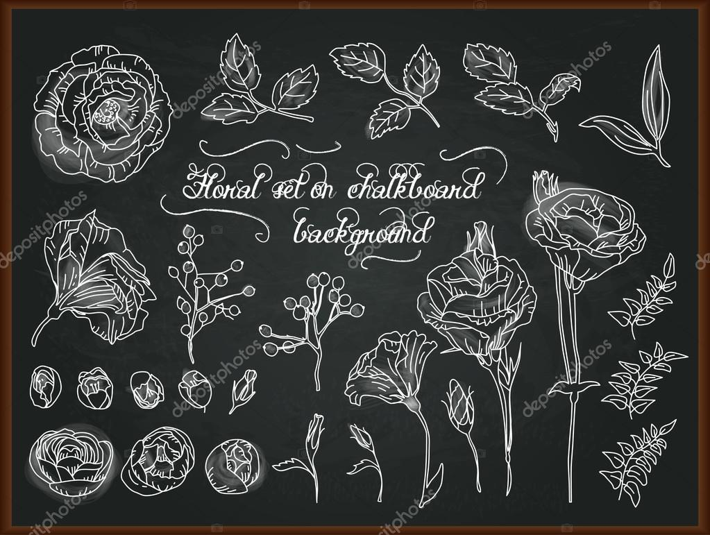 Set of hand drawing chalk flowers for design.