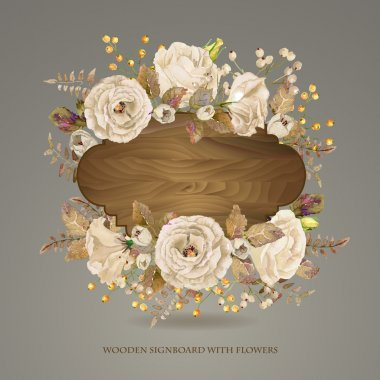 Vector  frame of  white watercolor roses and berries on wooden background