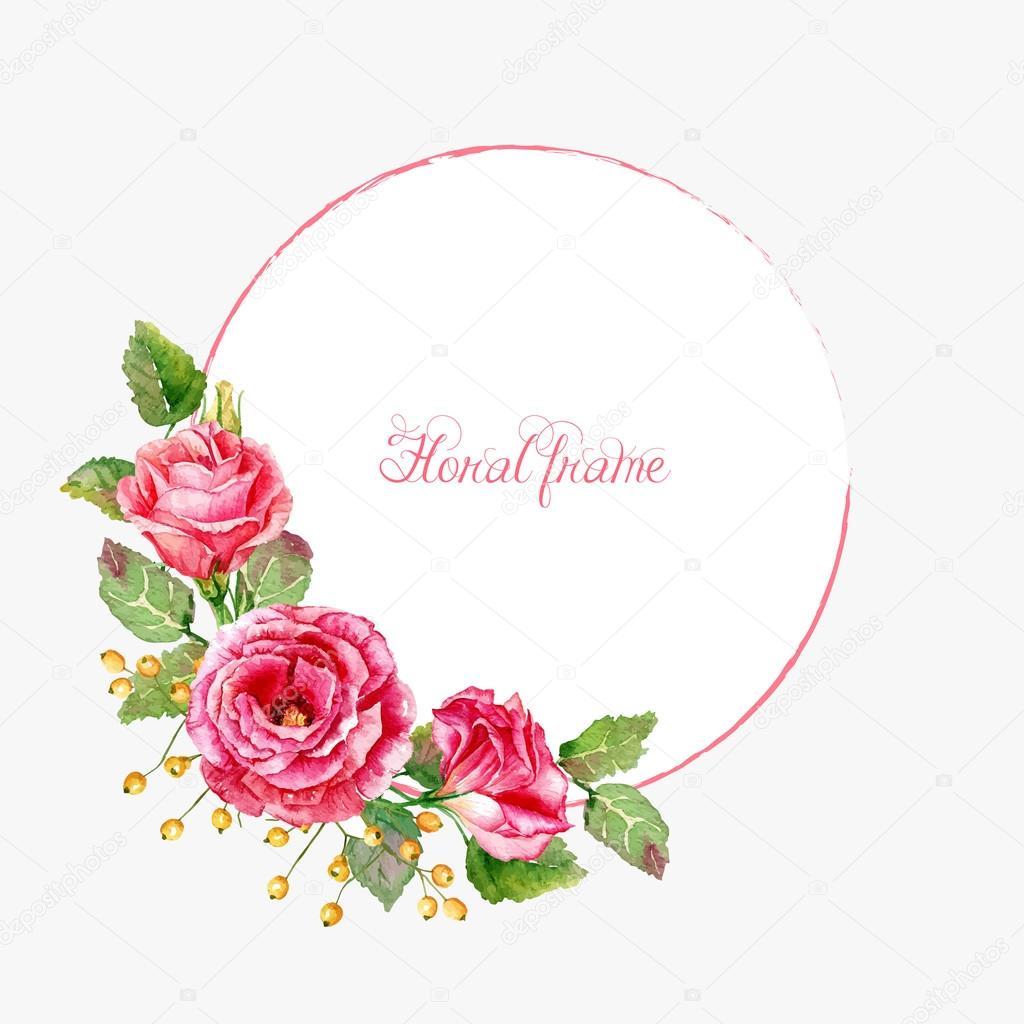 Marco redondo de rosas rojas acuarelas — Archivo Imágenes ...