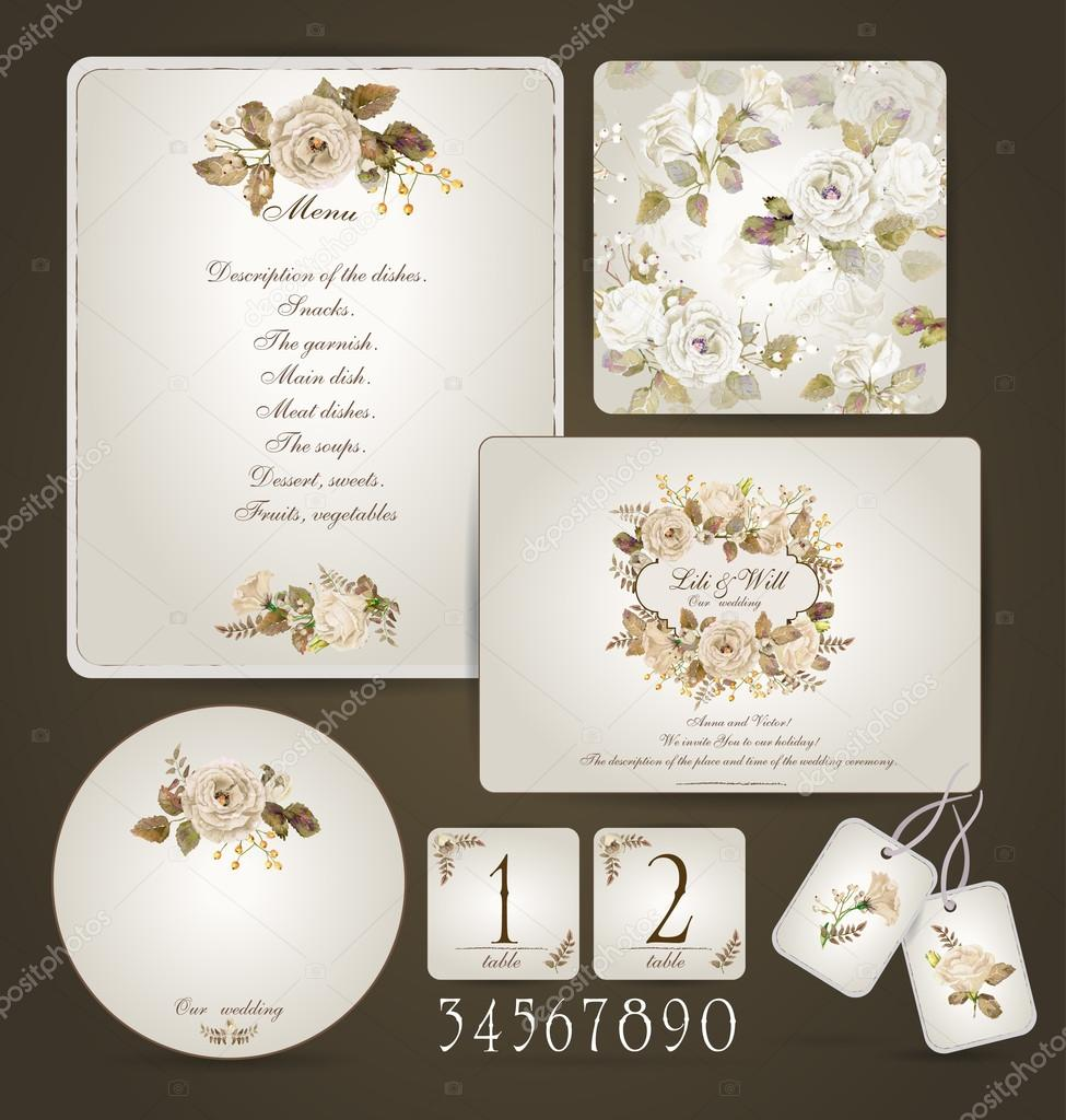 Set Of Templates For Celebration Wedding Beige Roses Stock - Celebrate it templates place cards