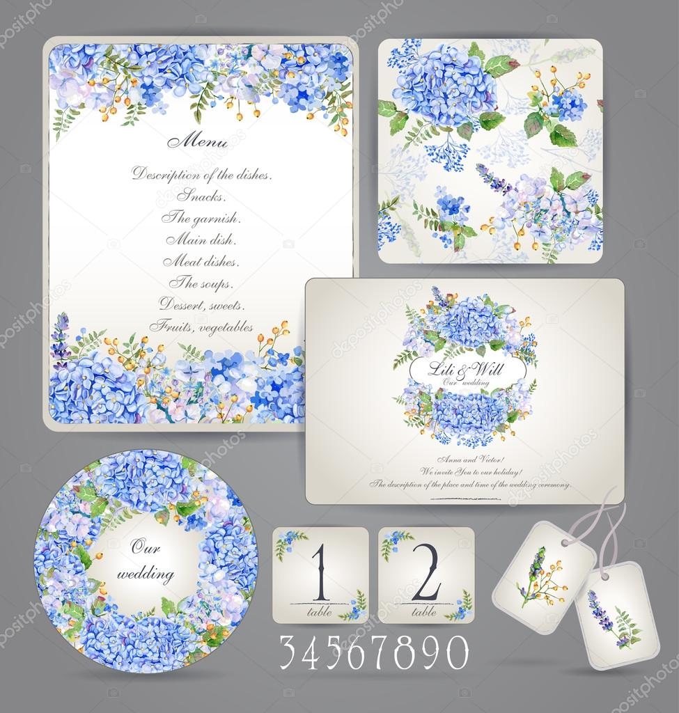 Set Of Templates For Celebration Wedding Blue Flowers Stock - Celebrate it templates place cards