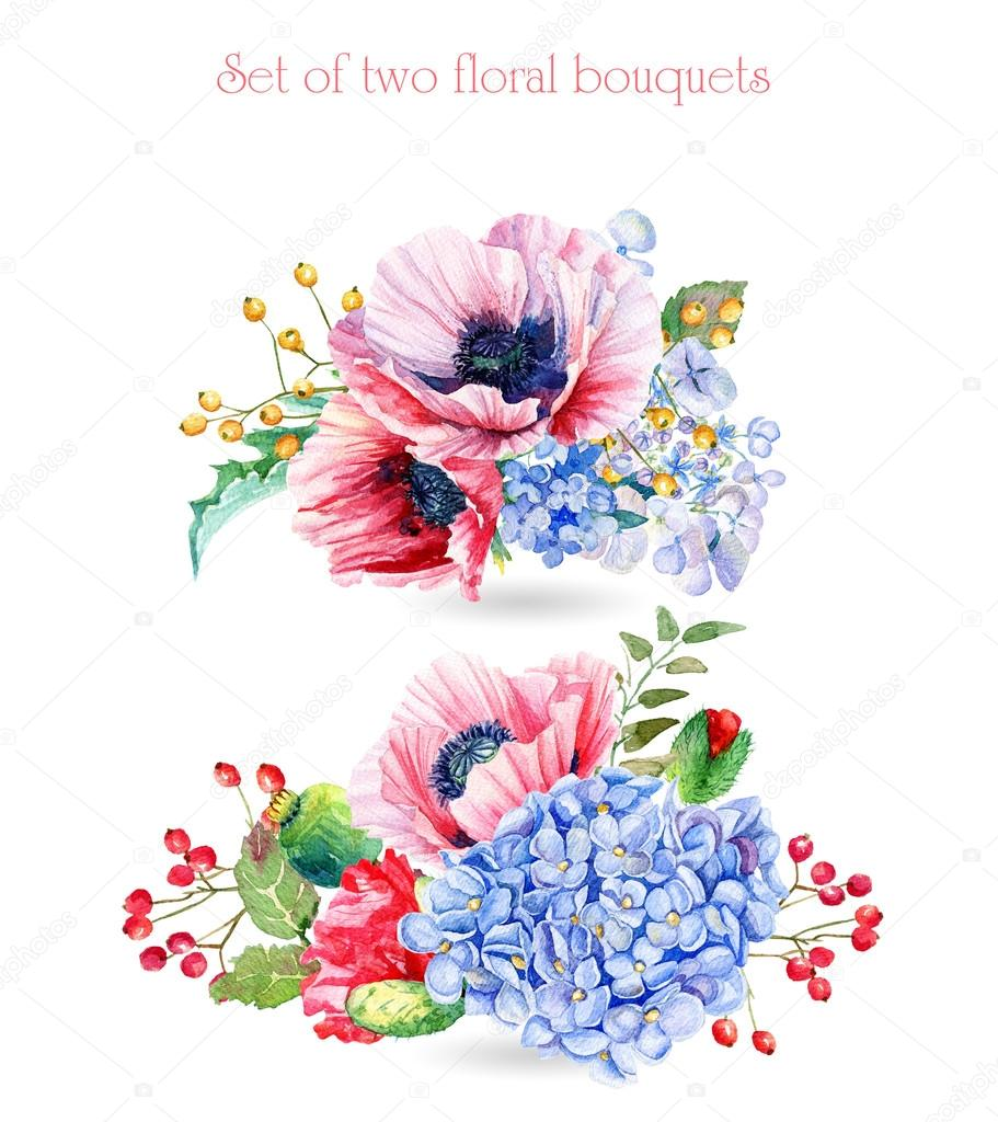 Set of watercolor floral bouquets for design.