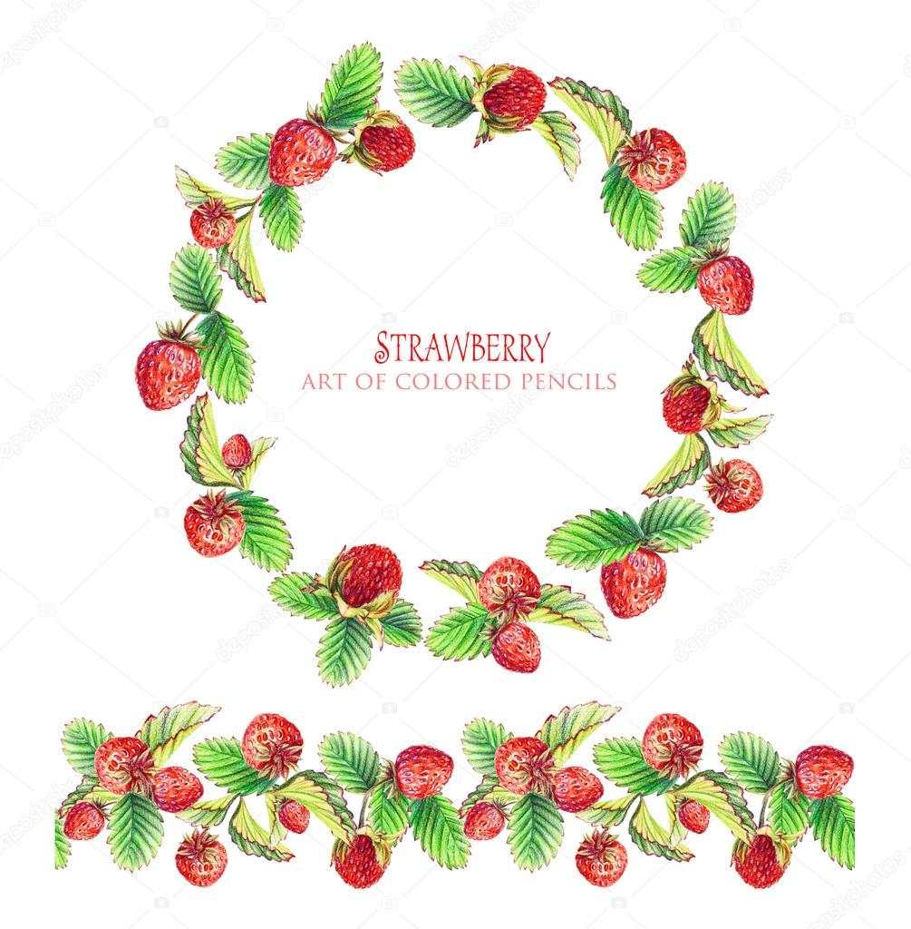 Round frame of leaves, strawberry and seamless ornamental stripe