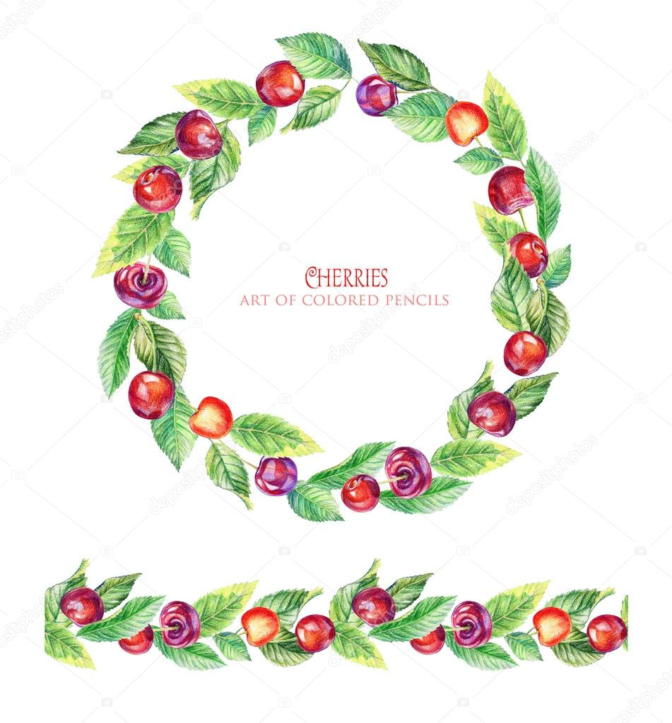 Round frame of leaves, cherry and seamless ornamental stripe.