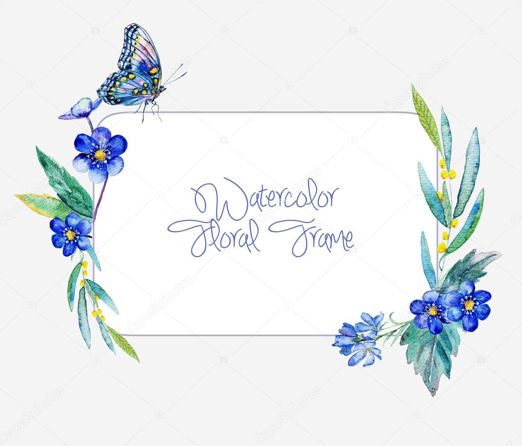 Watercolor frame of blue flowers and butterfly.
