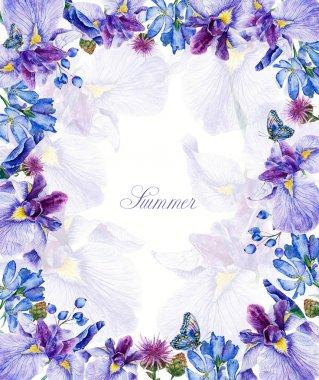 Frame of watercolor blue irises, butterflies, cornflowers, blueb