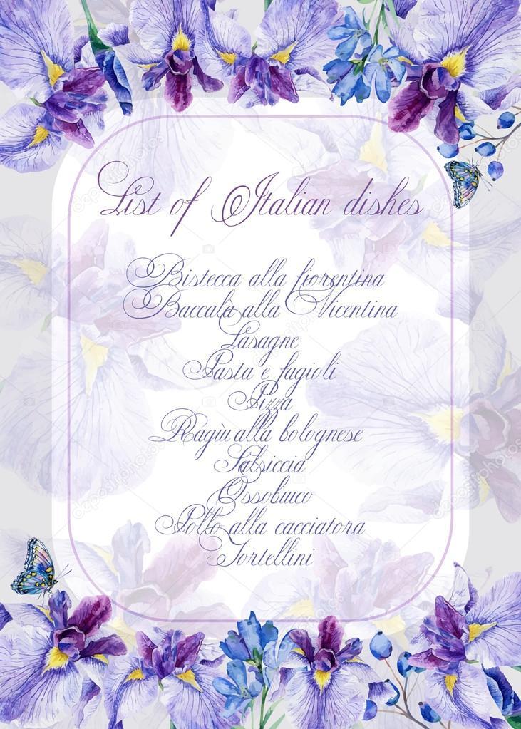 Invitation card. Greeting card with irises.