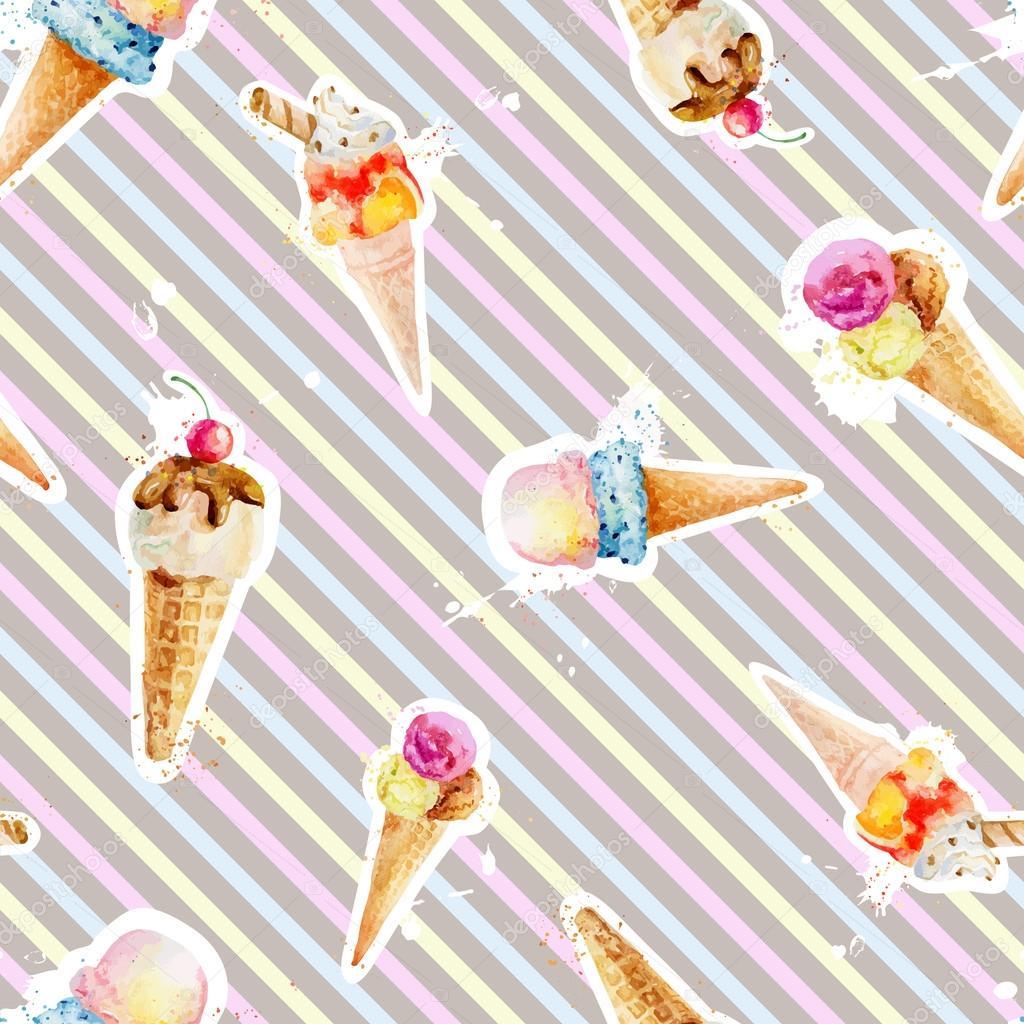 Patrón sin fisuras con conos de helado en el fondo con colorfu ...