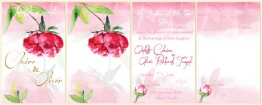 Watercolor background for flyers, invitations with peony.