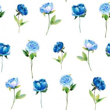 Seamless pattern with blue peonies, leaves.