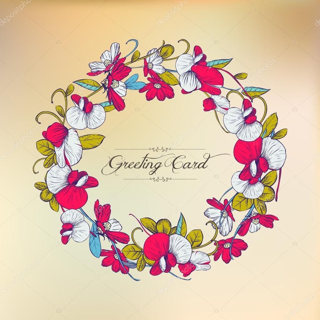 e0a9f86eb Cartão floral vintage. Quadro redondo de flores — Vetores de Stock ...