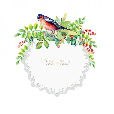 Round frame of watercolor colorful bird and some leaves, berries