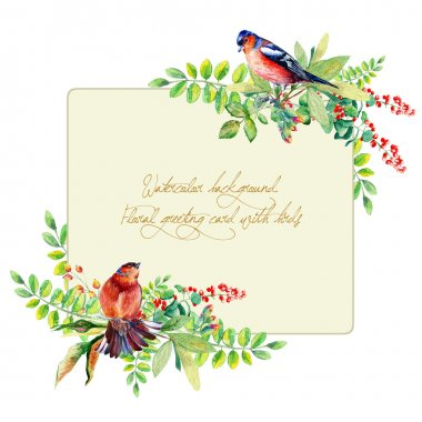 Frame of watercolor colorful bird and some leaves, berries.