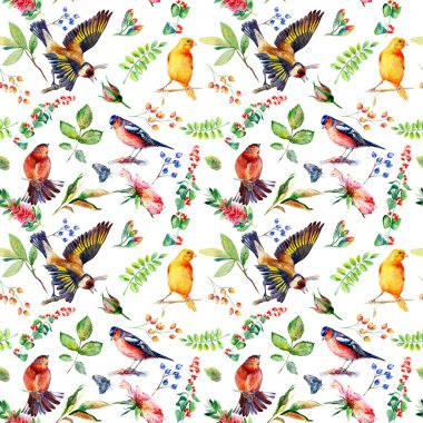Seamless pattern with flowers, leaves, and birds.