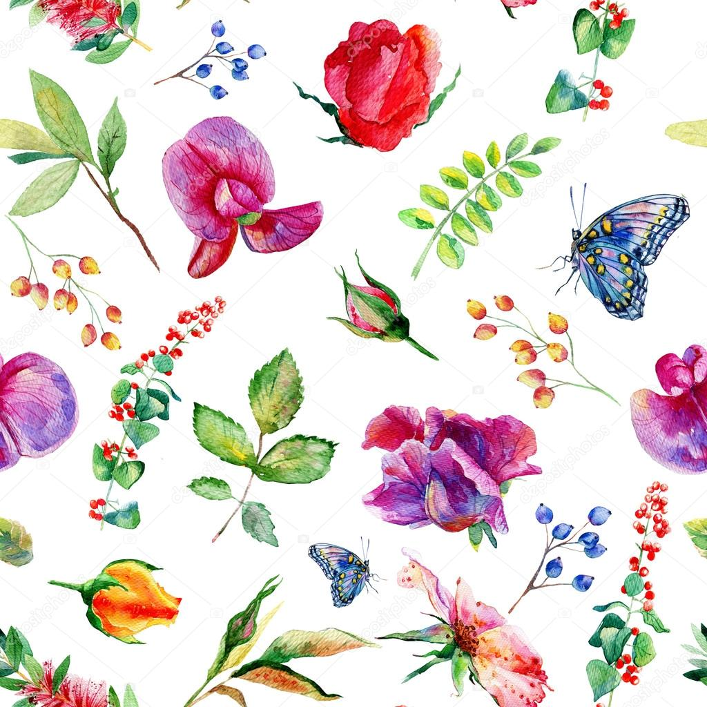 Seamless pattern with pink Sweet pea, Lathyrus odoratus, leaves.